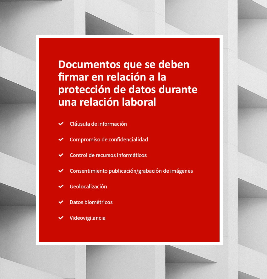 firma documentos proteccion datos empleados