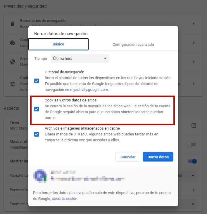 Gestionar cookies de seguimiento desde el navegador Chrome