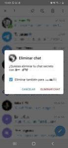 Eliminar chat secreto Telegram