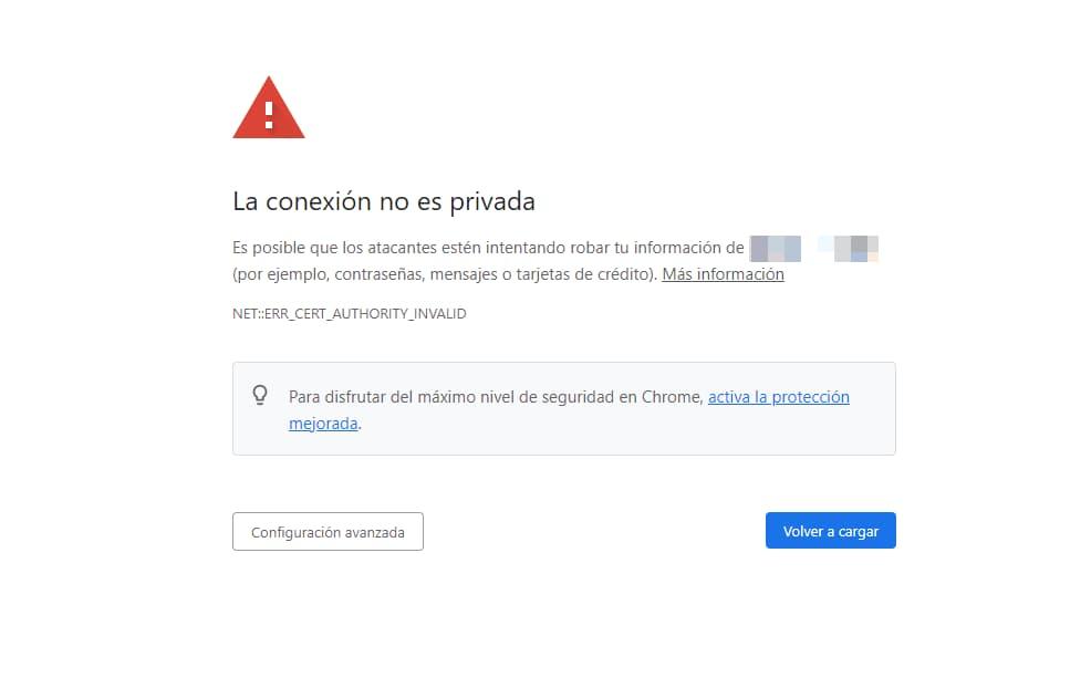 """Error privacidad Chrome """"La conexión no es privada"""""""