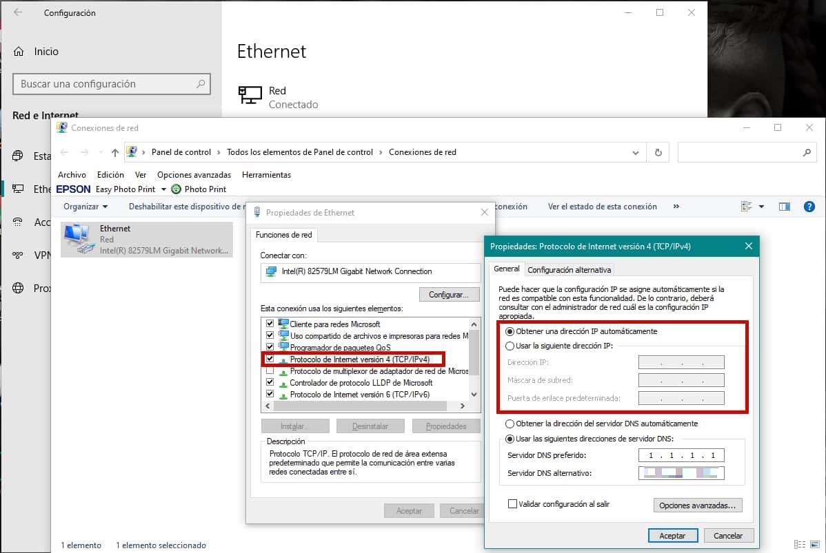 Ver IP estática