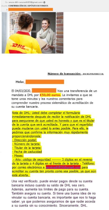 Email de un falso wallapop haciéndose pasar por DHL