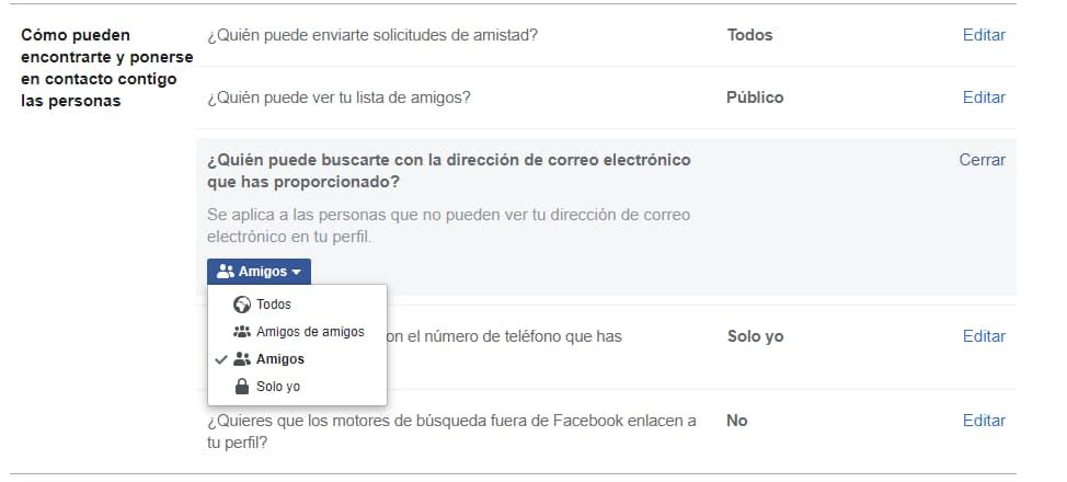 Privacidad de la página Facebook
