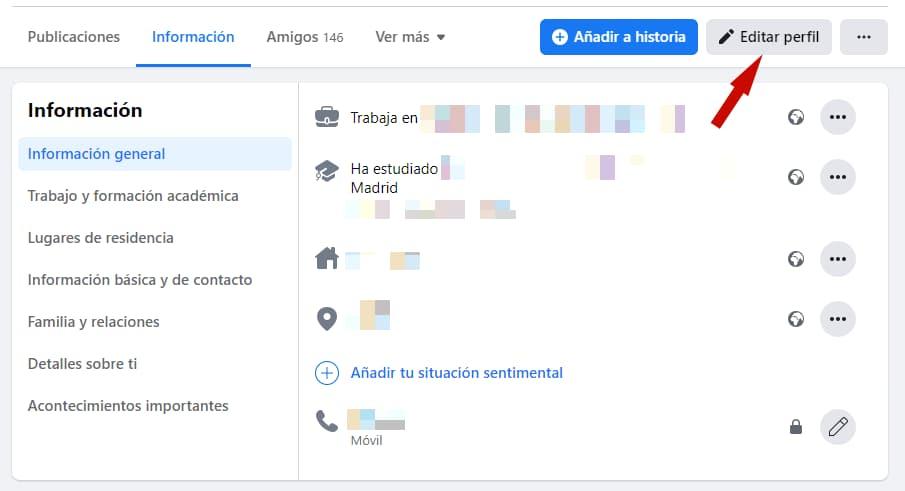 Privacidad de biografía Facebook