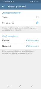 Elegir contactos en Telegram