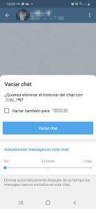 Configurar mensajes en Telegram para que se autodestruyan