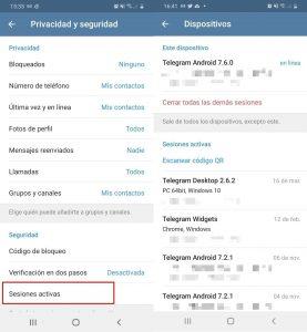 Controla la actividad de cuenta Telegram