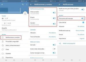 Deshabilitar la vista previa del mensaje en Telegram