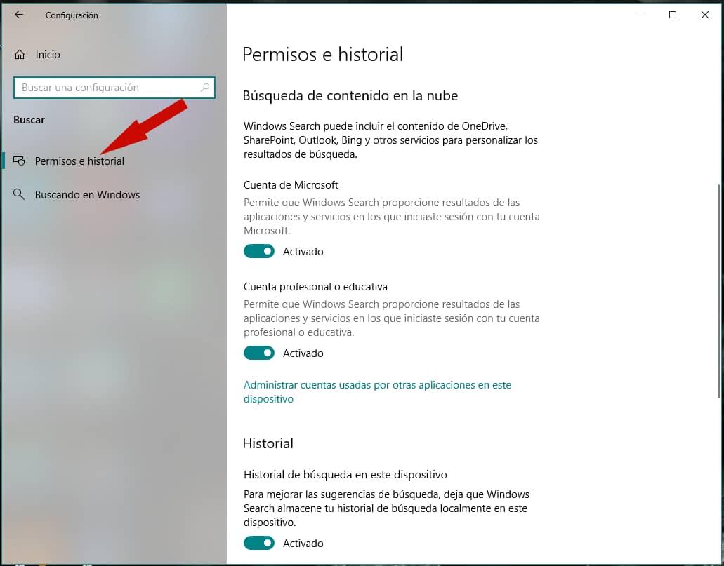 Permisos e historial Windows
