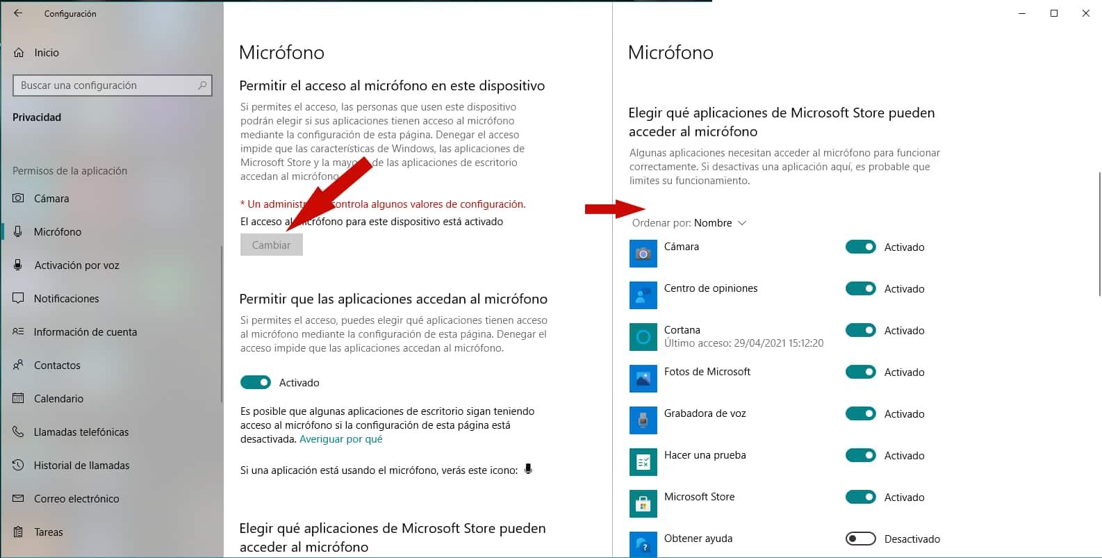 Configuración micrófono Windows 10