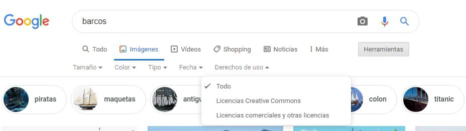 como saber si una imagen tiene copyright con Google