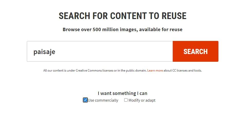 como saber si una imagen tiene copyright con CC Search
