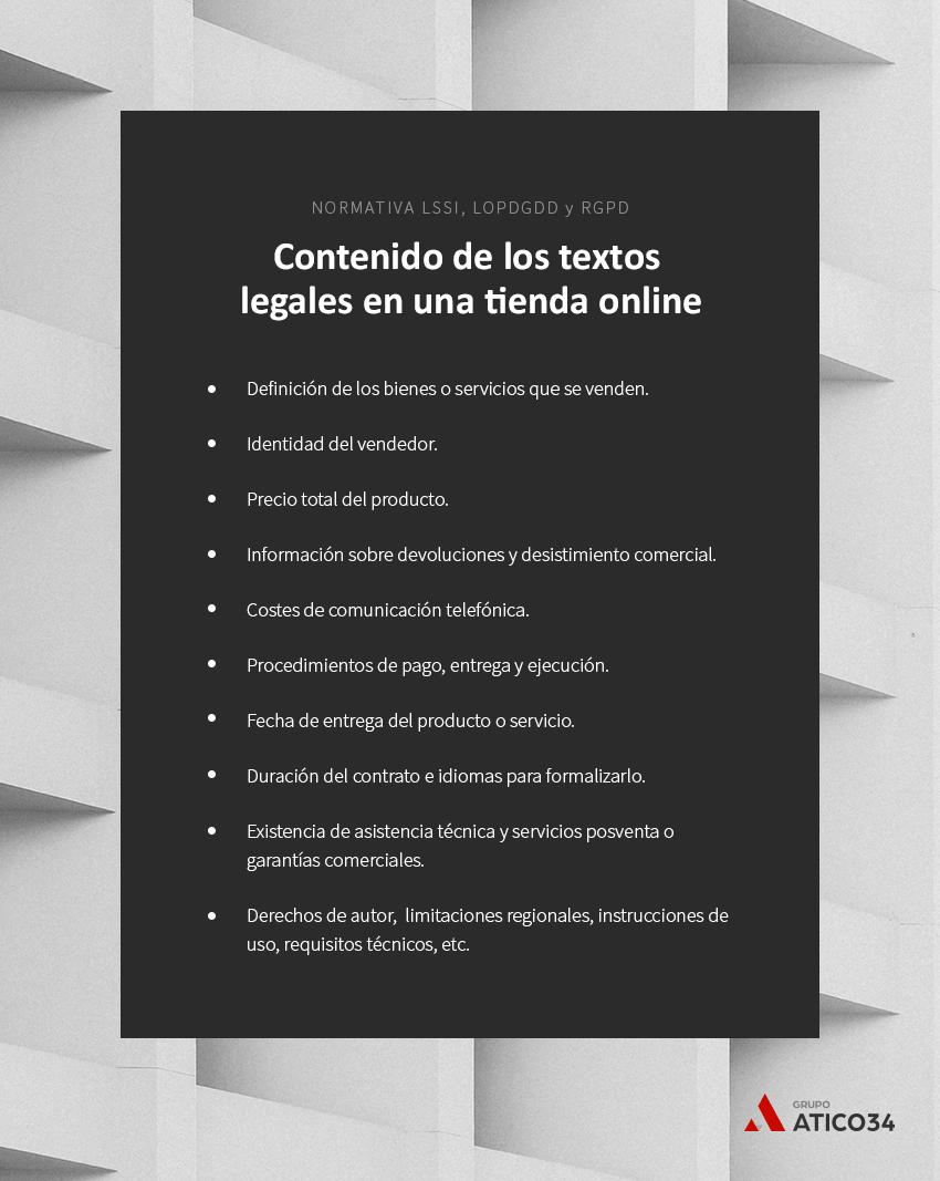 contenido textos legales tienda online