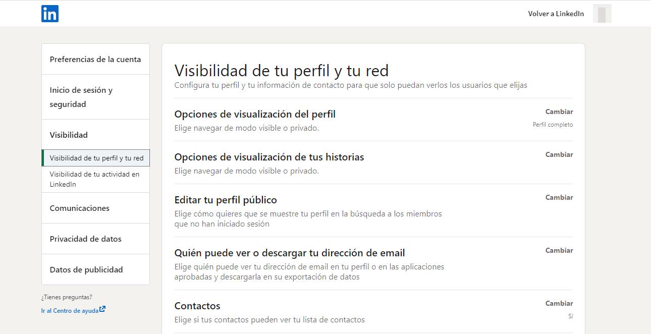 Configuración y privacidad LinkedIn