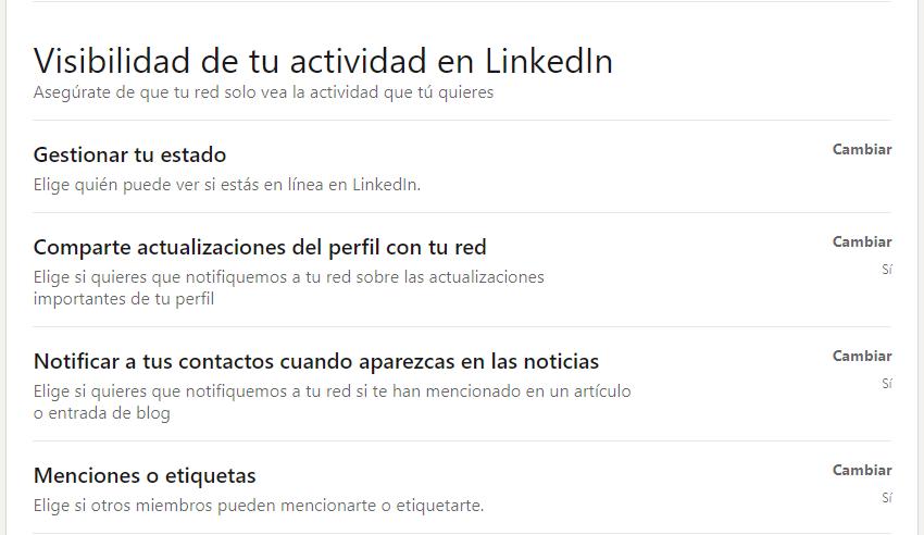 Visibilidad estado de actividad LinkedIn
