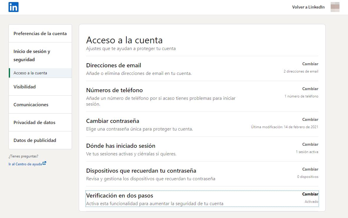 Ajustes de seguridad LinkedIn