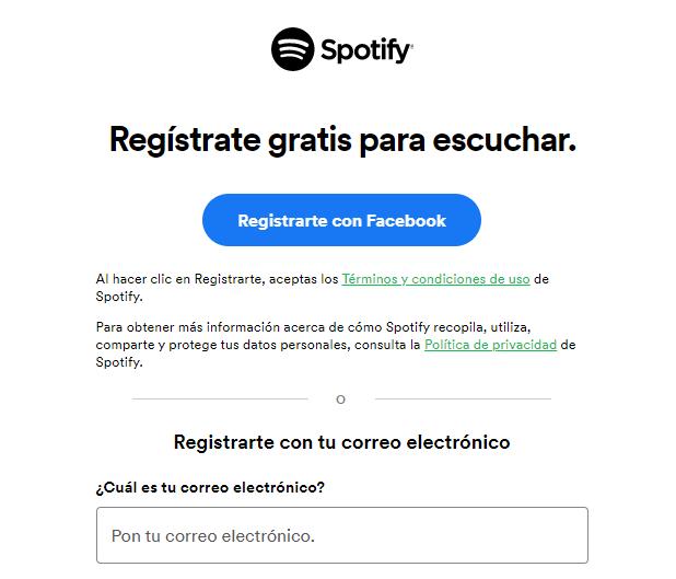 Registrarse con Facebook en Spotify