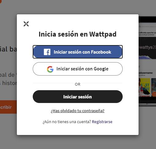Registrarse con Facebook en Wattpad