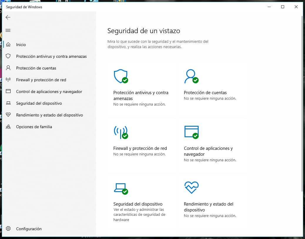 Opciones de configuración de Windows Defender