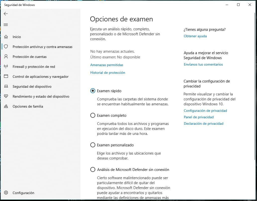 Opciones de examen Windows defender