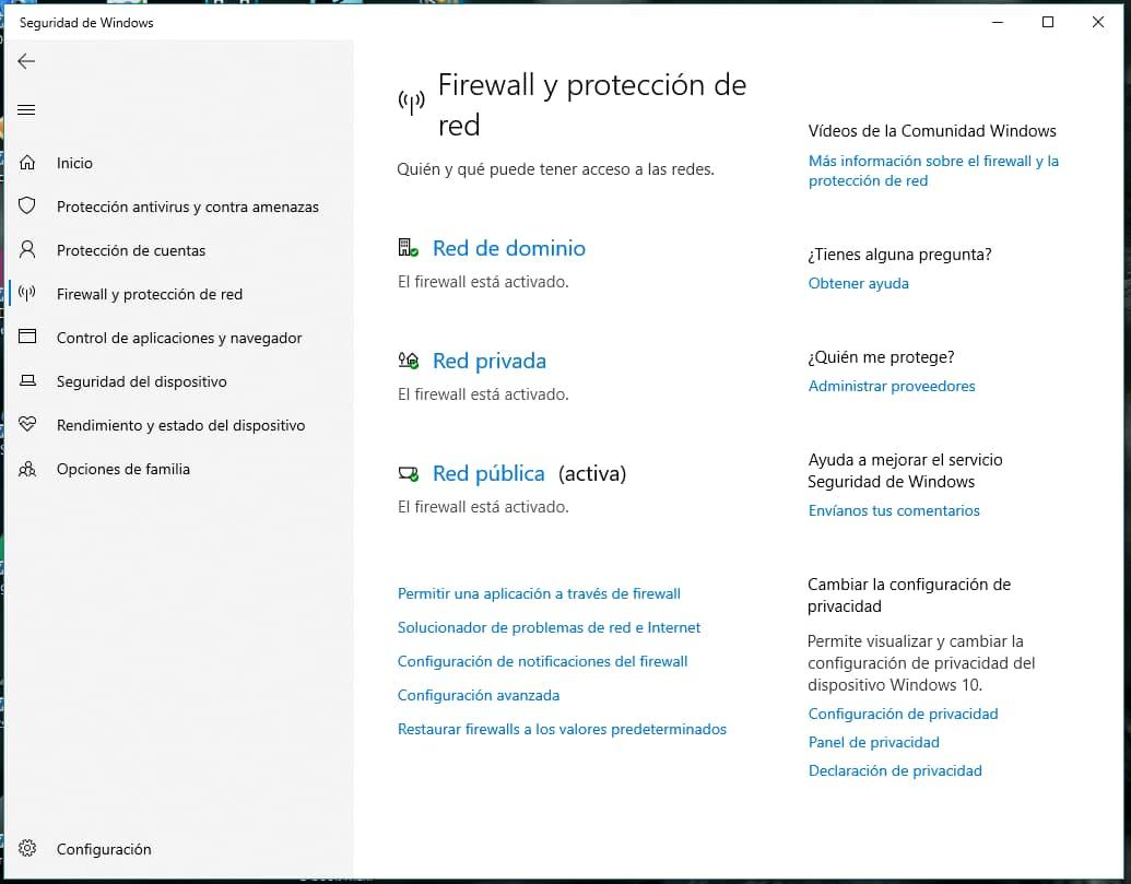Activa el Firewall y la protección de red